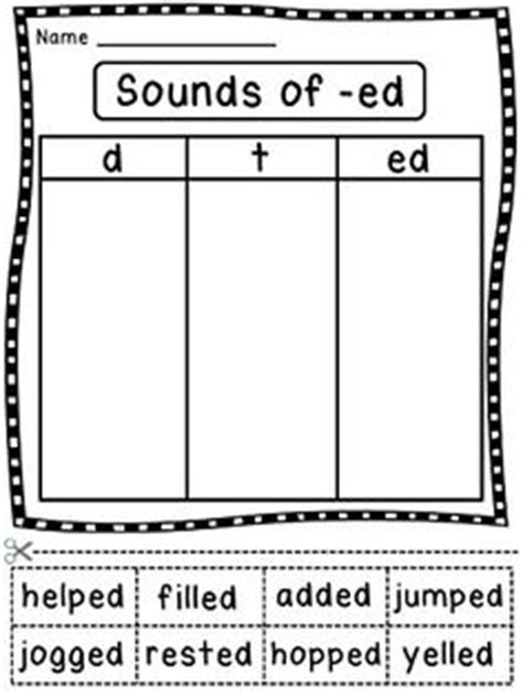 3 sounds of ed worksheet 1000 images about grammar ed ing on inflectional endings spelling and