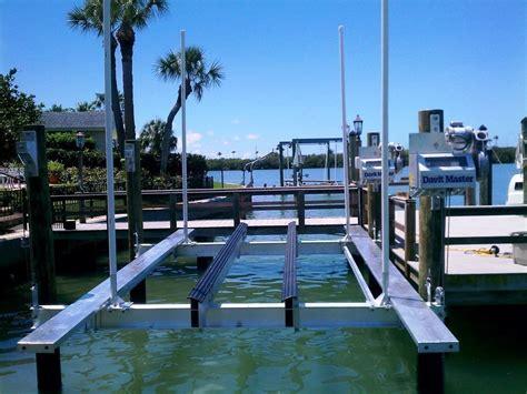 boat lift walkway davit master silhouette beamless boat lifts