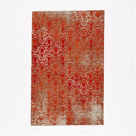 Distressed Wool Rug by Distressed Damask Wool Rug Salmon West Elm
