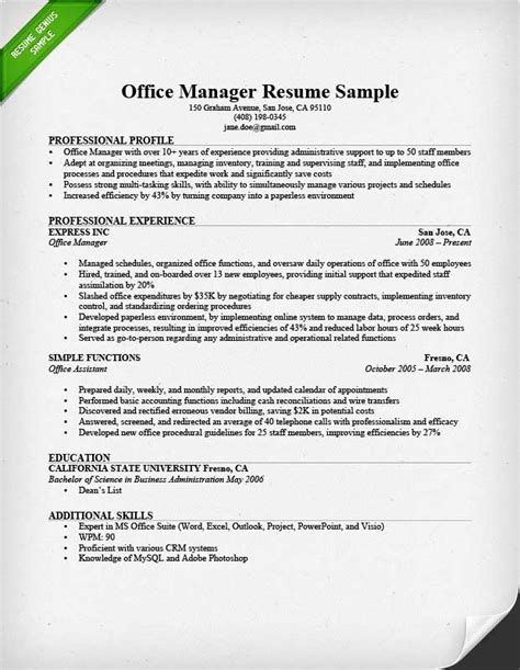 Resume Exles For Managers Position by Office Manager Resume Sle Tips Resume Genius