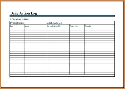activity log template daily activity log template resume skills