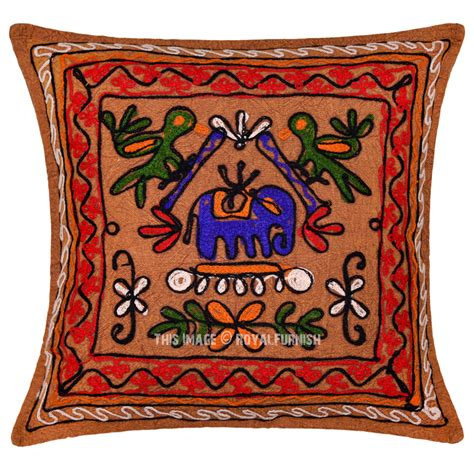 vintage indian embroidered animal design decorative throw