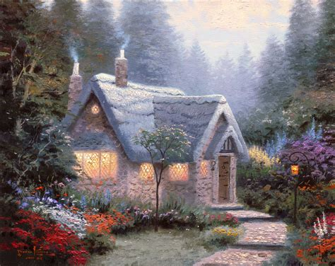 cottage paintings by kinkade cottages