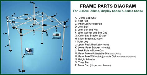 parts of a l and shade quik shade canopy parts