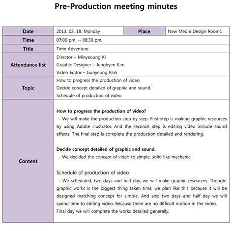 pin minute of meeting template on