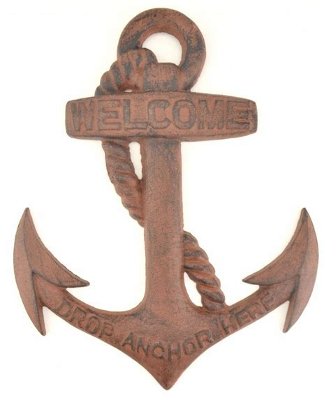 cast iron boat anchor sign welcome drop upc barcodes - Boat Anchor Drop