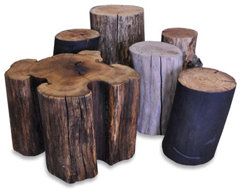 reclaimed solid wood log stump side tables eclectic