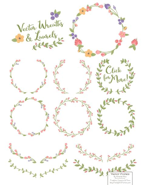 Western Theme Home Decor by Wildflowers Floral Wreath Vector Set By Amanda Ilkov