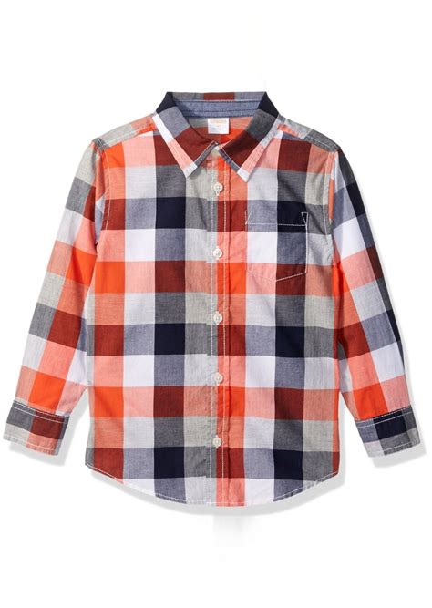 Gymboree Orange gymboree gymboree big boys orange and navy plaid shirt