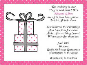 wording for wedding breakfast invitation pink present after wedding brunch invitations