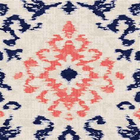 Bed Valances Navy And Coral Ikat Damask Fabric By The Yard Coral