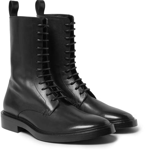 balenciaga boots mens balenciaga leather derby combat boots in black for lyst