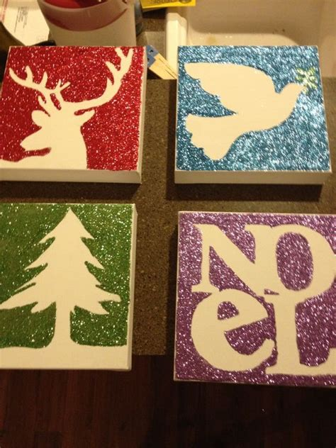 2012 christmas craft project glitter canvas from dollar