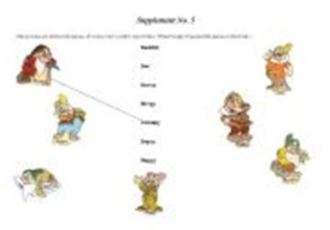 Snow White Supplement worksheets snow white and the seven dwarfs