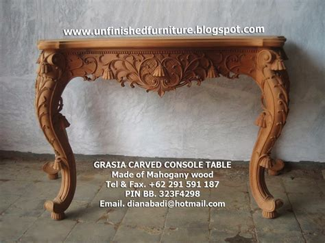 Meja Mahogani Console Table unfinished mahogany furniture luxury grasia carved console table unfinished classic console