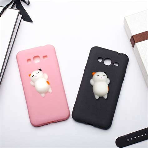 Samsung Galaxy J3 Iron Series Limited mrgo for samsung galaxy j3 2016 j5 2016 cover silicone clumsy cat squishy for