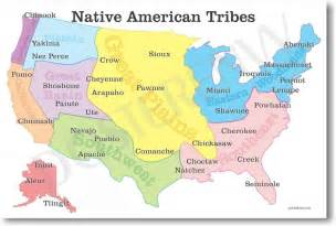 indian tribes of map new american history educational classroom poster