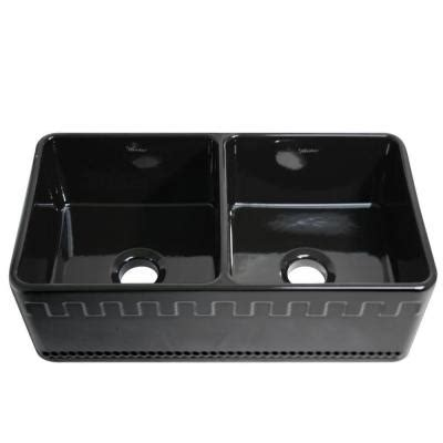 Black Apron Front Kitchen Sink by Whitehaus Collection Castlehaus Reversible Apron Front
