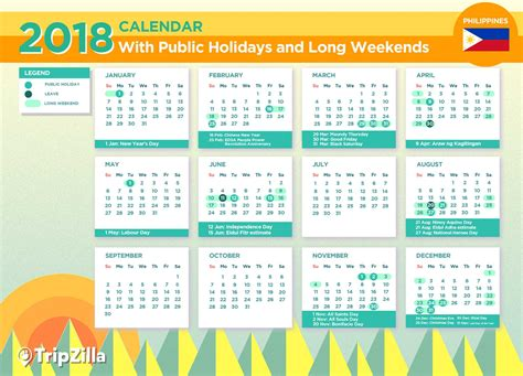 2018 Calendar Philippines With Holidays Happy 2018 New Year Calendars With Philippines Holidays