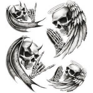 biker tattoo aufkleber quot totenk 246 pfe engel teufel quot 2 st 252 ck kaufen louis motorrad