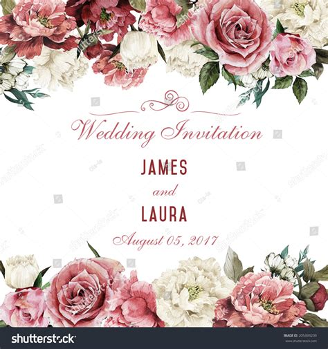 Vector Backgrounds With Roses For Invitations greeting card roses watercolor can be stock illustration