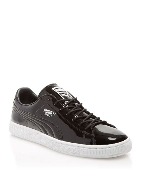 mens black patent leather sneakers lyst basket patent leather sneakers in black for