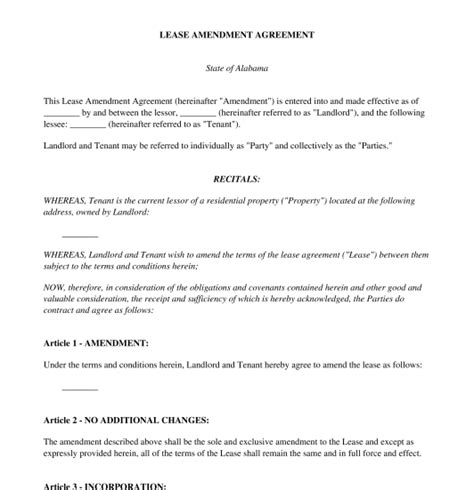 Letter Of Agreement Amendment lease amendment agreement free sle template