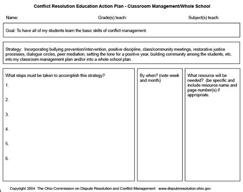 cre action plan for classroom management education