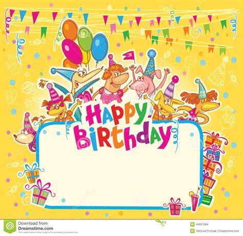 kawaii birthday card template happy birthday card stock illustration illustration of