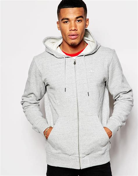 Zipper Hoodie Adidas Original Gold Logo Anime adidas originals zip up hoodie with small logo ab7571 in gray for lyst