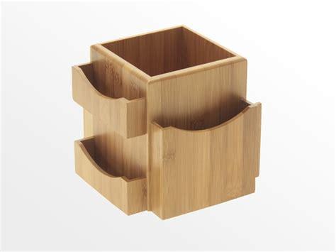 Revolving Desk Tidy Bamboo Office Supplies Desk Tidy