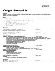 freelance videographer resume sle photography resume