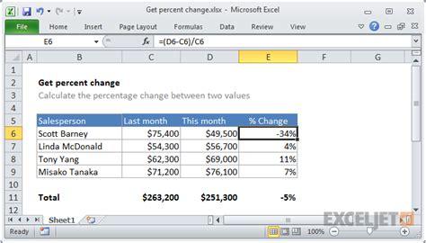 excel formula get percent change exceljet