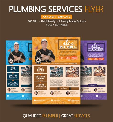 card marketing services templates plumbing flyer ideas for plumbers on behance