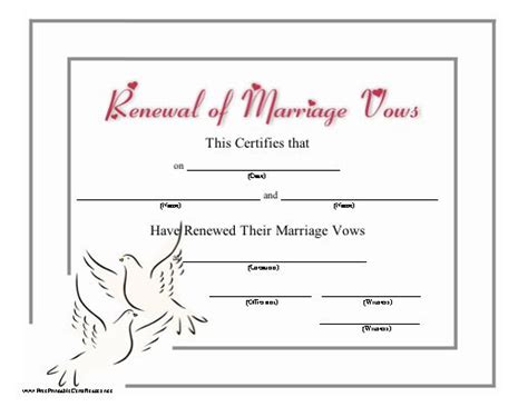 vow card template awesome wedding vow renewal certificate photos styles