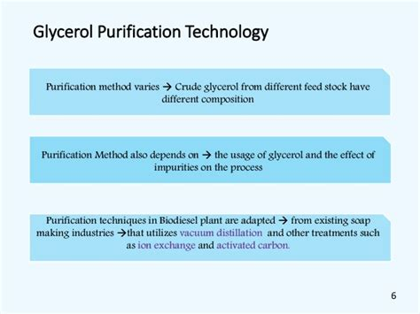 progress prospect and challenges in glycerol purification