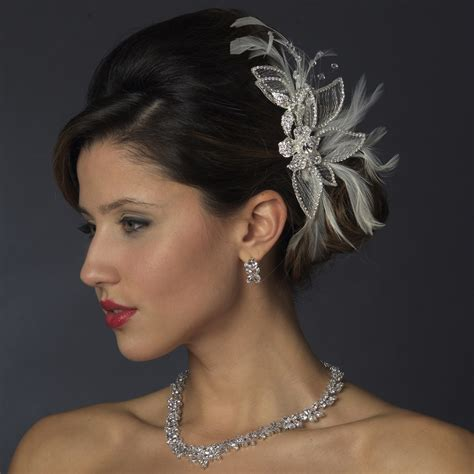 Wedding Hair Accessories by Silver White Feather Rhinestone Bridal Hair