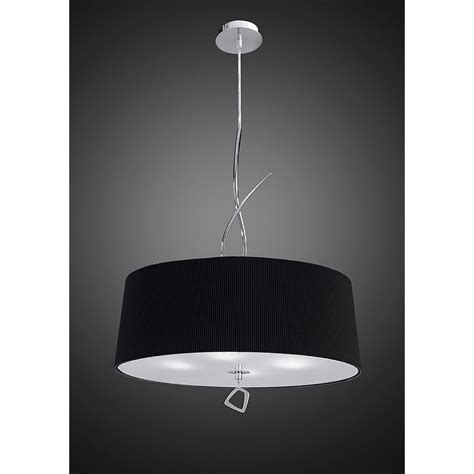 Low Hanging Ceiling Lights Mantra Mara 4 Light Low Energy Ceiling Pendant In Polished Chrome Finish With Black Shade