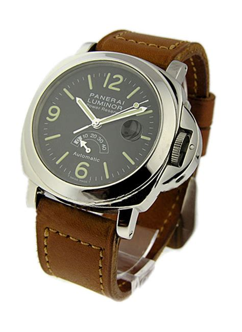 Panerai Power Reserve Silver Brown Leather Automatic pam00027 panerai power reserve 44mm steel essential watches