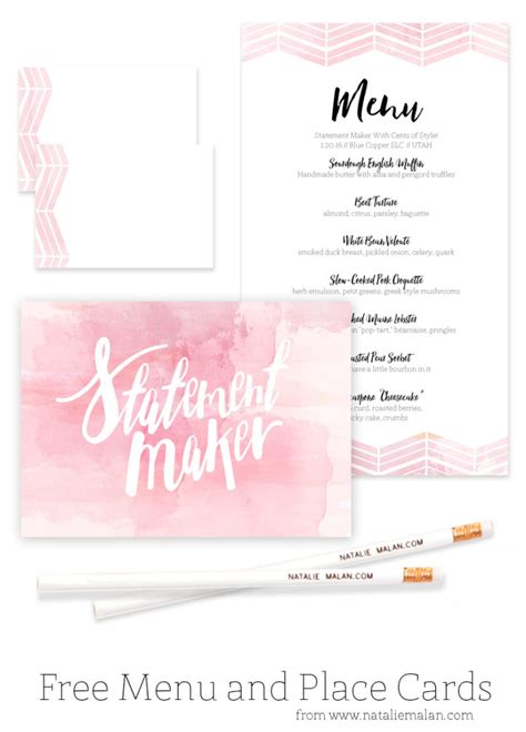 menu place cards template alt dinner free watercolor menu and place cards natalie