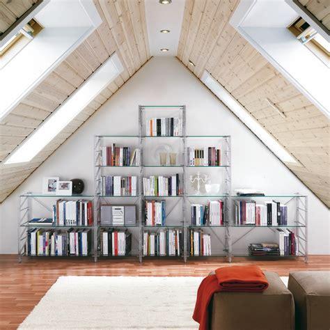 libreria per studio teodor libreria per mansarda in acciaio e vetro 365 x 35 x