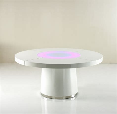 Led Dining Table Large White Gloss Dining Table Glass Lazy Susan Led Lighting Ebay