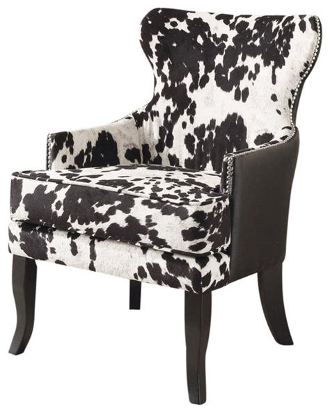 Faux Cowhide Furniture - faux cowhide fabric accent chair with stud detail