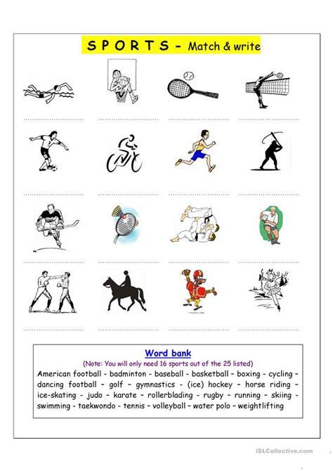 Sports Vocabulary Worksheet by Vocabulary Matching Worksheet Sports Worksheet Free
