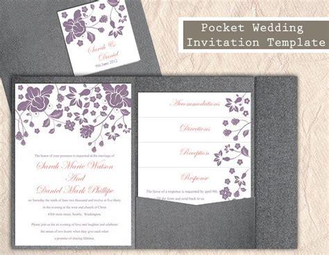 aubergine pocketfold wedding invitations pocket wedding invitation template printable