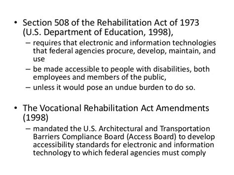 section 508 of the rehabilitation act requires federal agencies to designing programs for ensuring access and equity for