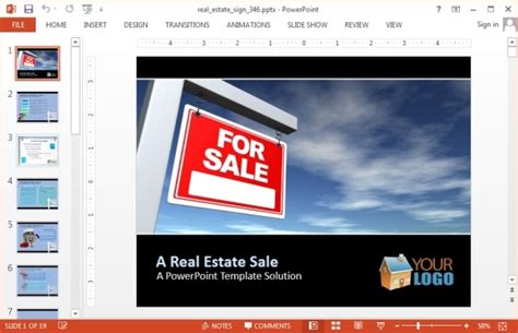Real Estate Sign Powerpoint Template Jpg Fppt Powerpoint Real Estate Templates