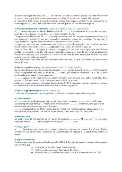 Modification Du Contrat De Travail Pour Invalidité by 4 5 Exemple De Contrat Cdd