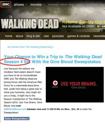 Amc Dead Sweepstakes - amc promises season 4 of walking dead the hollywood
