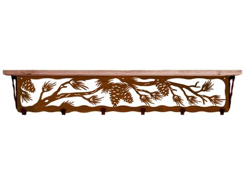 42 quot pine cone metal wall shelf and hooks with alder wood